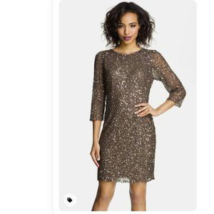 PISARRO NIGHTS Cowl Back Sequin & Bead Dress